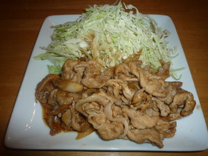 Shogayaki Served with cabbage