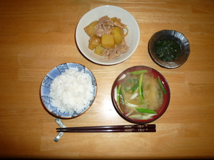 Build a Meal 2: Rice, Eringi miso soup, nikujyaga and fuki ribbon okazu