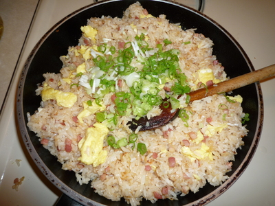 Pancetta Fried rice-add green onions