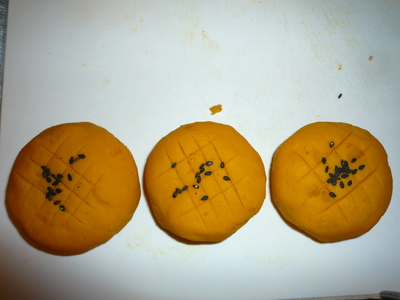 Kabocha mochi-add decorative lines
