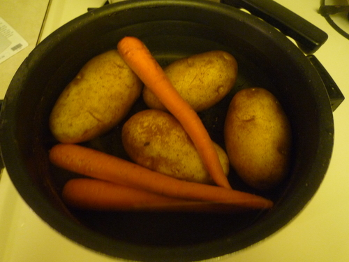 Potato salad-boil carrots and potatoes